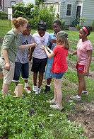 Children inspect a caterpillar found in their garden which is tended by children ages 5-11 in a program called Growing Healthy Kids, as part of the Ea...