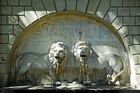 Two lions, fountain in the garden of Festetics Palace, Kastely Festetics, Keszthely, Lake Balaton, Balaton, Hungary, Europe