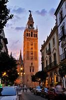 Giralda Tower at sunset, Sevilla, Andalucía, Spain, Europe october-2009