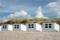 Wooden beach huts against a blue sky, beach near the De Slufter nature reserve, Texel, Holland, The Netherlands, Europe