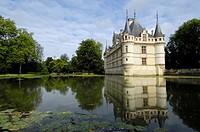 Azay-le-Rideau Chateau, Castle of Azay-le-Rideau, built from 1518 to 1527 by Gilles Berthelot in Renaissance style, Loire Valley, Indre et Loire provi...