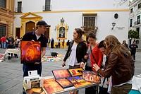Marcadillo Arte de los domingos, art market on Sundays in the museum square, Plaza del Museo Sevilla, Sevilla, Andalusia, Spain, Europe