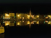 Night photograph of a boat marina in Normandy France