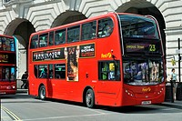 Modern double-decker bus, Routemaster, in London City, England, United Kingdom, Europe