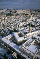Aerial photograph of Saint Salvatore monastery in the old city of Jerusalem at winter