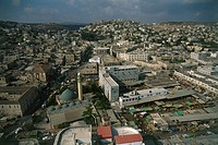 Aerial photograph of the Palestinian city of Jenin in the West Bank
