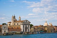 View of Fondamenta delle Zattere ai Gesuati with the Church of Santa Maria dei Rosario Dorsoduro from Canale della Giudecca near Zattere, Venice, Ital...