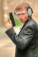 Male agent with gun