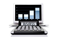 Calculator labeled with business in front of a laptop with a statistics graph