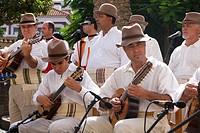 Musicians at a traditional costume festival in Las Palmas, Grand Canary, Canary Islands, Spain