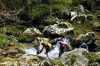 Canyoning. Casaño River, a tributary of Cares river. Puente Pompedro. Concejo de Cabrales. Asturias. Spain.