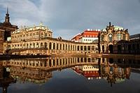 Germany, Saxony, Dresden, Zwinger Palace, Mathematisch_Physikalischer Salon, Mathematical_Physical Sciences Salon, Rampart Pavilion, Reflection