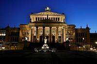Schauspielhaus theatre at the Gendarmenmarkt square in twilight, Berlin, Germany, Europe