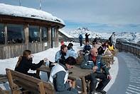 Tofane summit station, skiing area of Ra Valles-Tofana, Cortina d'Ampezzo, Dolomites, Veneto, Italy, Europe