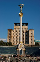 The Freedom Square with pillar in Kiev city, Ukraine, Europe