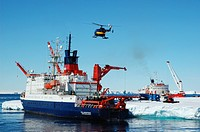 Setting and removal of Antarctic research vessel, Antarctica, Atka_Bucht