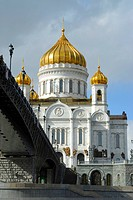 View of the Cathedral of Christ the Saviour from the Patriarchal bridge, Moscow, Russia