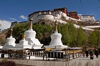 Back view of the Potala Palace, winter palace of the Dalai Lama in Lhasa, Tibet, China, Asia