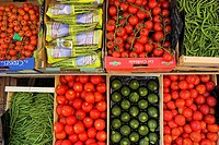 garden tomato Solanum lycopersicum, Lycopersicon esculentum, and other vegetables on a market, France, Provence