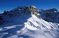 Aerial picture, Sella group, Sella Pass, Dolomites, Bolzano-Bozen, Italy