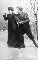 Couple ice skating, historic photograph, around 1911