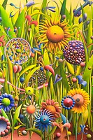 Colourful circles in a fantasy garden, painting by the artist Gerhard Kraus, Kriftel, Germany
