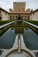 Inside the Alhambra, Nasrid Palaces, Court of the Myrtles, Patio de los Arrayanes, Granada, Spain, Europe