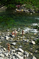 Bathing access at Maggia River, Maggia Valley, Canton Ticino, Switzerland, Europe