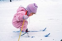 Charlevoix, Michigan - Mariel West, not quite 2, tries cross-country skiing  MR