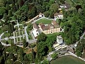 Aerial picture, Mainau Island, garden island on Lake Constance, Mainau Castle, Baden-Wuerttemberg, Germany, Europe