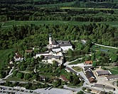 Kloster Andechs Monastery, place of pilgrimage, Benedictine priory, Upper Bavaria, Germany, Europe, aerial view