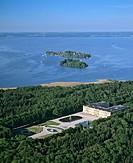 Aerial picture, Herrenchiemsee Castle, park, Herreninsel Island, in the back Frauenchiemsee Island, Frauenwoerth Monastery, Lake Chiemsee, Upper Bavar...