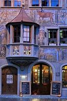 Historic facade with a bay window, Stein am Rhein, Canton of Schaffhausen, Switzerland, Europe