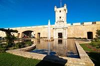 Constitution Square and walls of Cadiz. Cadiz. Andalucia. Spain.