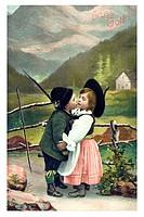 Historical Valentine's Day greetings card Gruess Gott, Bavarian children couple kissing