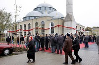 People leaving the Ditib-Merkez Mosque, biggest mosque in Germany, after the Friday prayer, Duisburg-Marxloh, North Rhine-Westphalia, Germany, Europe