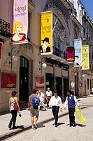 Theatre, advertising signs on the facade, people in front of the Teatro Politeama in the Rua dos Portas de Sao Antao, Restauradores, old city, Lisbon,...