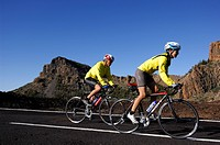 Racing cyclists in the Teide National Park, Tenerife, Canary Islands, Spain, Europe