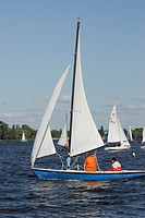 Sail boats, Aussenalster, Outer Alster Lake, Hamburg, Germany, Europe
