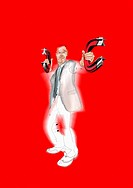 Businessman holding magnets