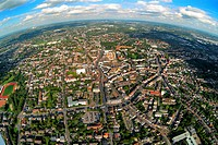 Aerial photograph, long shot, fisheye shot, inner city, Bottrop, Ruhr Area, North Rhine-Westphalia, Germany, Europe