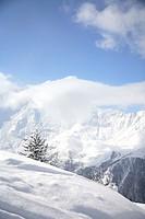 Winter sports area in the French Alps. Tarentaise, Savoy, Savoie, Peisey, Les Arcs / La Plagne, France.