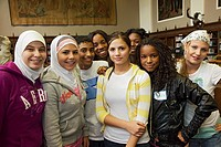 Dearborn, Michigan - Students from diverse backgrounds get to know each other at lunch hour on Mix It Up Day at Fordson High School  Mix It Up Day is ...