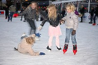 Winter ice skating in Harderwijk, The Netherlands