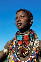 portrait of a Hamer girl, Ethiopia, Omo valley, Turmi