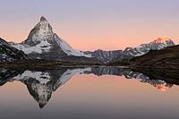 Matterhorn reflection in Riffelsee, Zermatt, Wallis, Switzerland, Europe