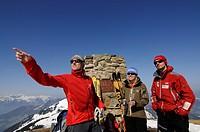 Ski tourists on the peak of Mt. Joel, Wildschoenau, Tyrol, Austria, Europe