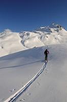 Ski hiker on a tour up Mount Tristkopf, Kelchsau, Tyrol, Austria, Europe