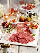 Cold cuts platter with figs