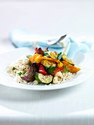 Fried vegetables on rice